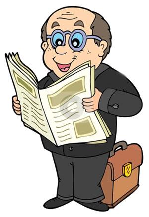 Reading-News-Paper-Cartoon